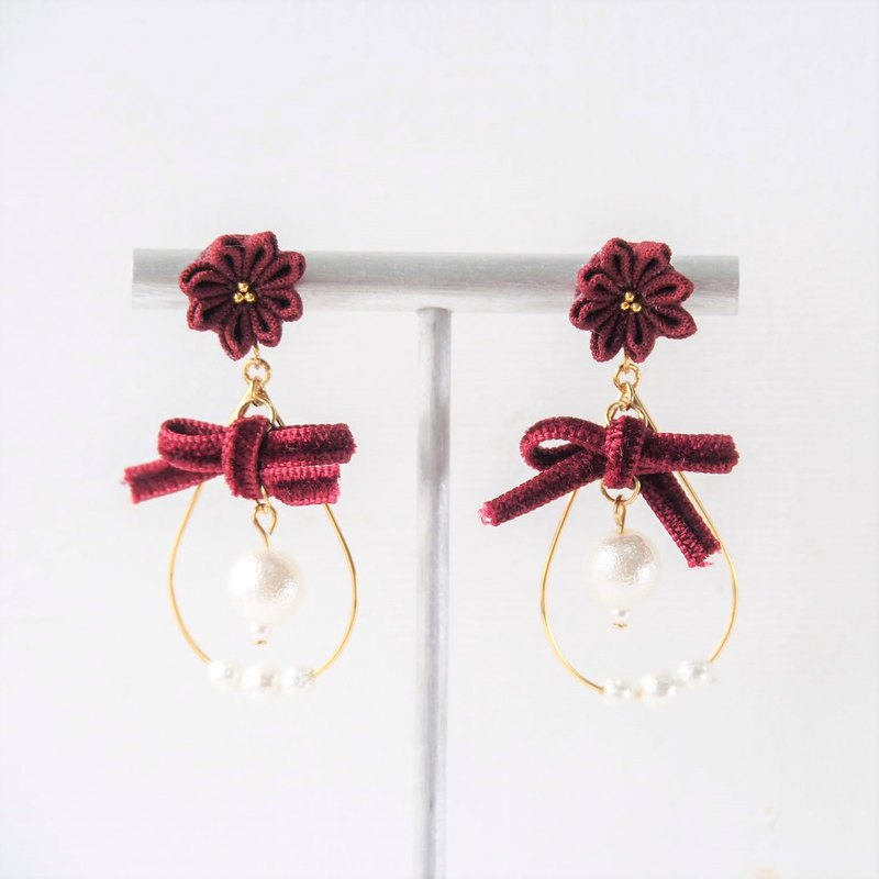 [Snowball] Magnificent wine red velvet butterfly bow snowball custom earrings ear clips 14kgf 925