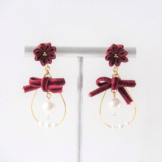 [Snowball] Magnificent Wine Red Velvet Butterfly Bow Snowball Custom Earrings Ear Clip 14kgf 925