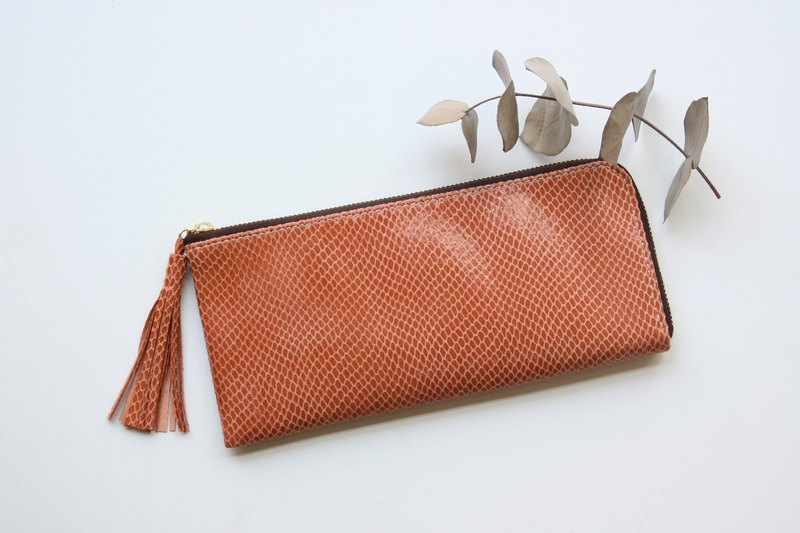 Pigskin slim and light wallet apricot