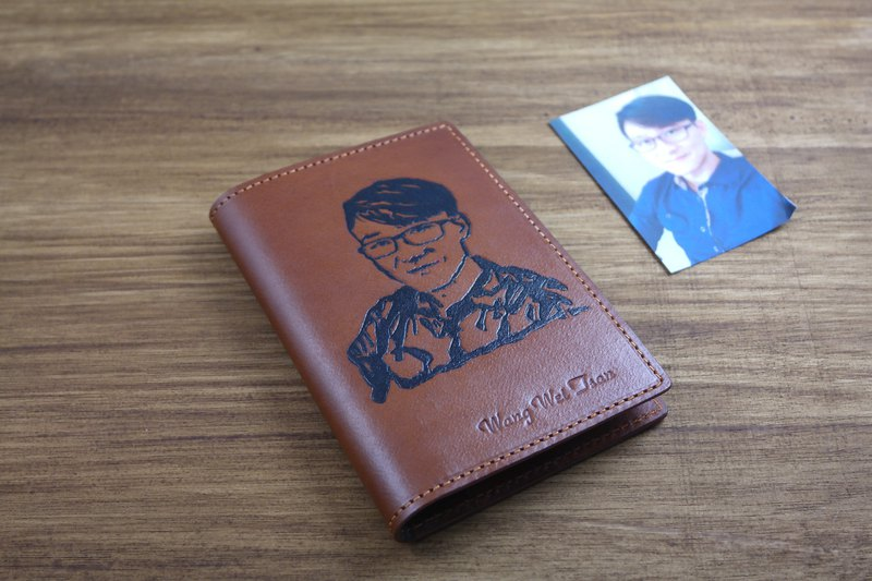 APEE leather handmade ~ extension image passport holder ~ brown