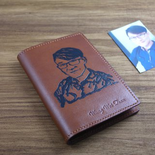 APEE leather handmade ~ extension passport holder ~ brown