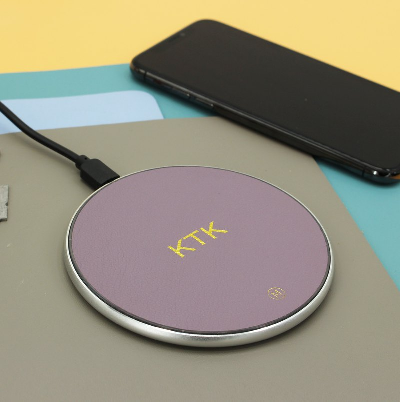 Customized genuine leather lavender purple macaron wireless charging pad charging cable