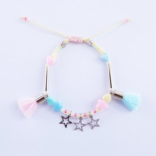 Pastel string bracelet with pink/blue tassel and star