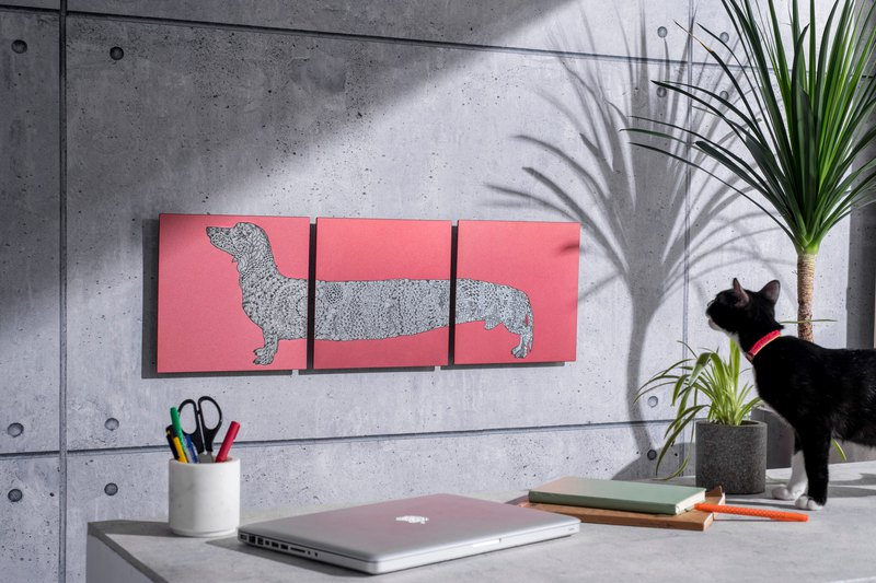 Dachshund Dog - Aluminum Decorative Panel - Teshi Edition Decor Board AL6061-Three-piece