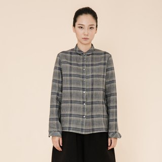 BUFU plaid linen shirt for women /grey  SH170607GR