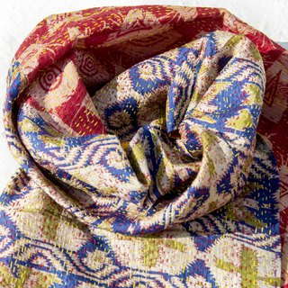 Hand-stitched sari silk scarf / silk embroidery scarf / Indian silk embroidery scarves - colorful South American geometry