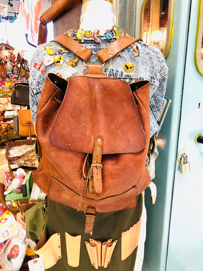 VINTAGE BAG-leather/soft leather/backpack/southern bag/old/brown
