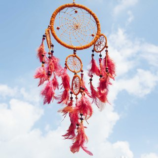 National wind ornament boho Hand-woven cotton dream catcher dream ducter - Orange Garden