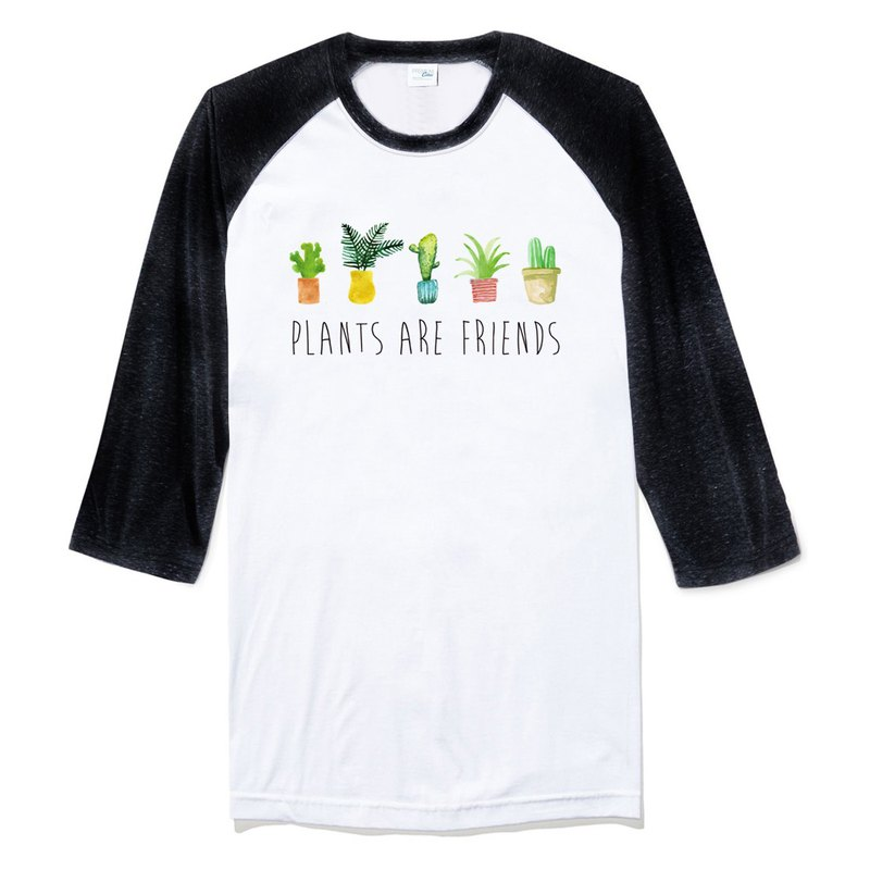 PLANTS ARE FRIENDS # 2 Tee Sleeve T-Shirt White Black Plant is our friend Fleshy Pot Fresh Remedy Creative Planting Green Art