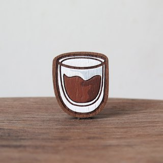 Wooden Brooch Coffee ~ Americano