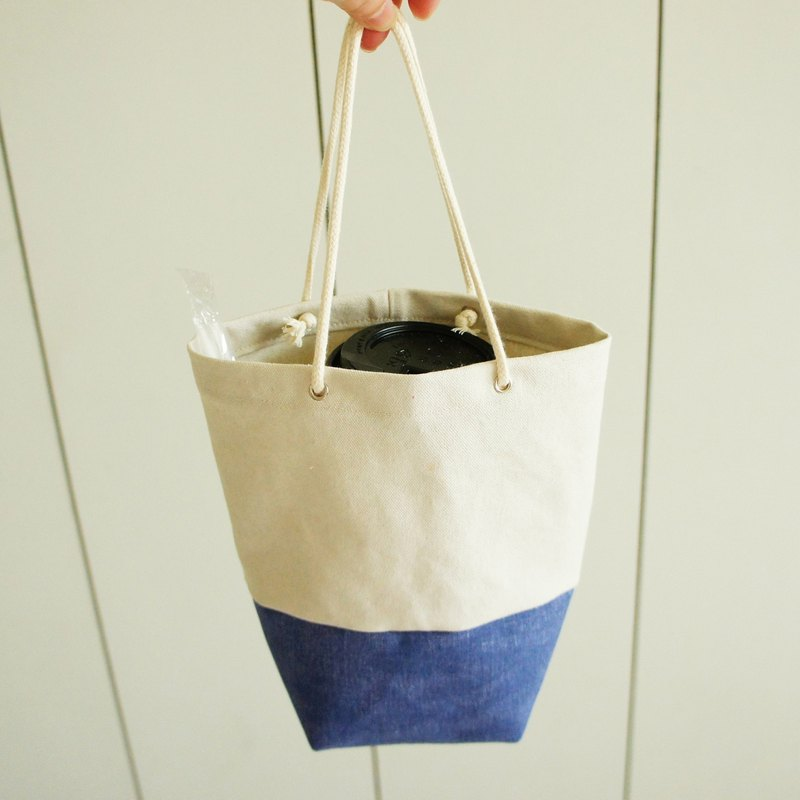 Lovely [stone wash canvas] grocery wind two-color water bottle bag, rice blue