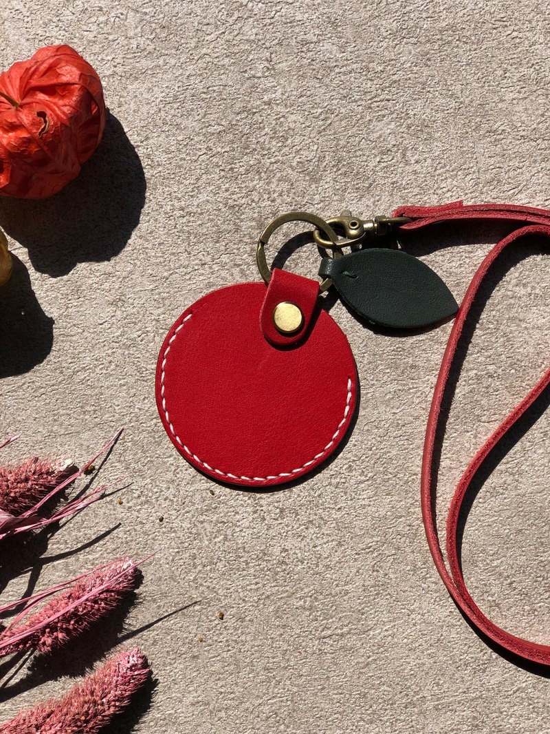Red apple GOGORO leather key case with lanyard