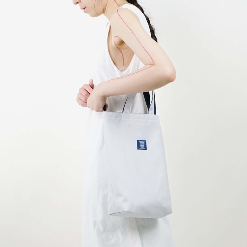 ::Bangstree:: two-colored reversible canvas bag -LightGrey+DarkBlue
