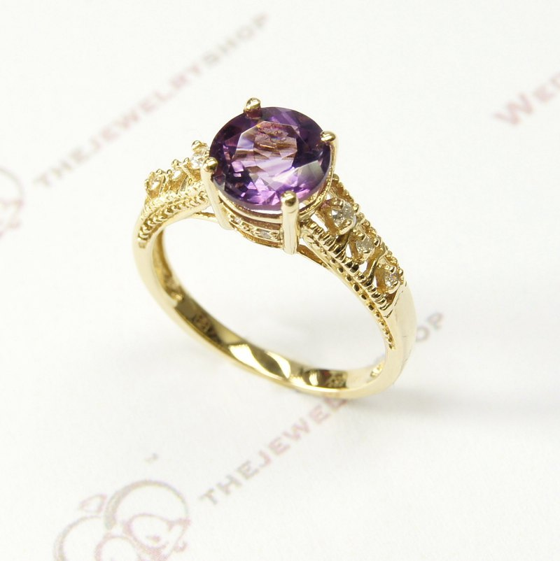 14K Yellow gold round amethyst with diamond Ring / Birthstone