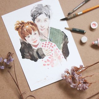 Chiao Ji hand-painted watercolor - custom sweet couple portrait - [frame / double]