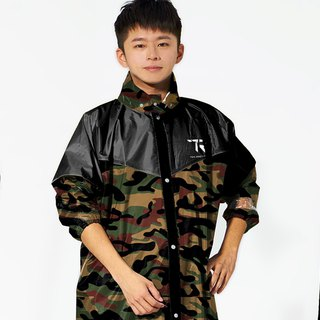 TDN camouflage camouflage front raincoat raincoat (Taiwan non-toxic leather waterproof raincoat) - Army Green