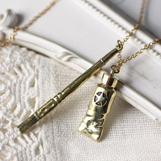 Golden Small Tube and Brush Charm Necklace / Linen Jewelry / Style Charm Necklace / Tube and Brush.