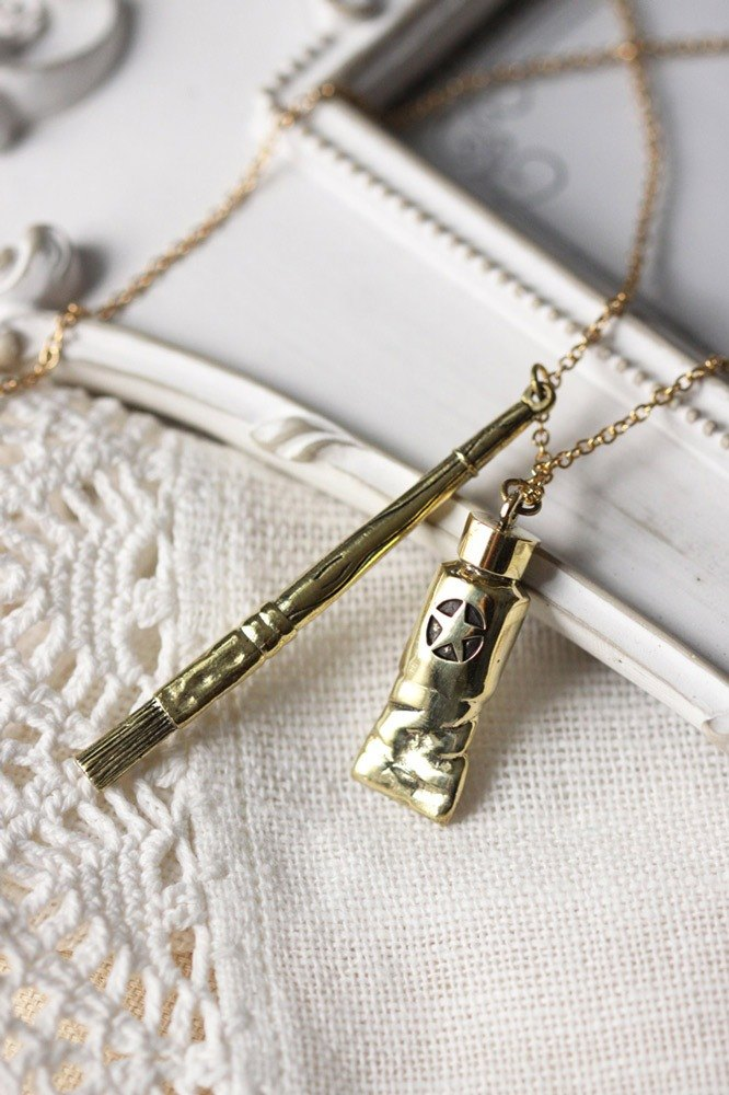 Golden Small Tube and Brush Charm Necklace by linen.