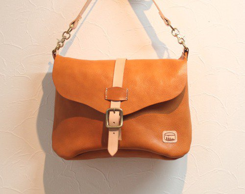 Shoulder bag made of moist and soft leather