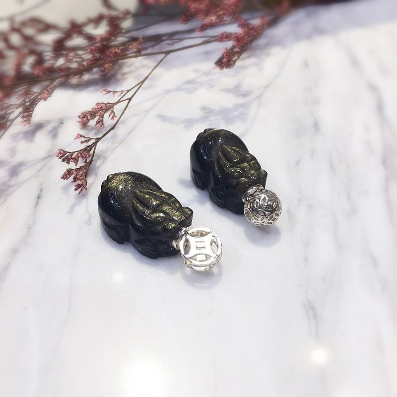 [Stunning] Natural Obsidian Pixiu Handmade Silver Essential Oil Bottle Necklace