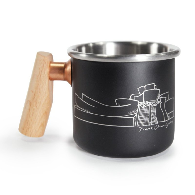 Wooden handle stainless mug 400ml (GUGGENHEIM BILBAO)