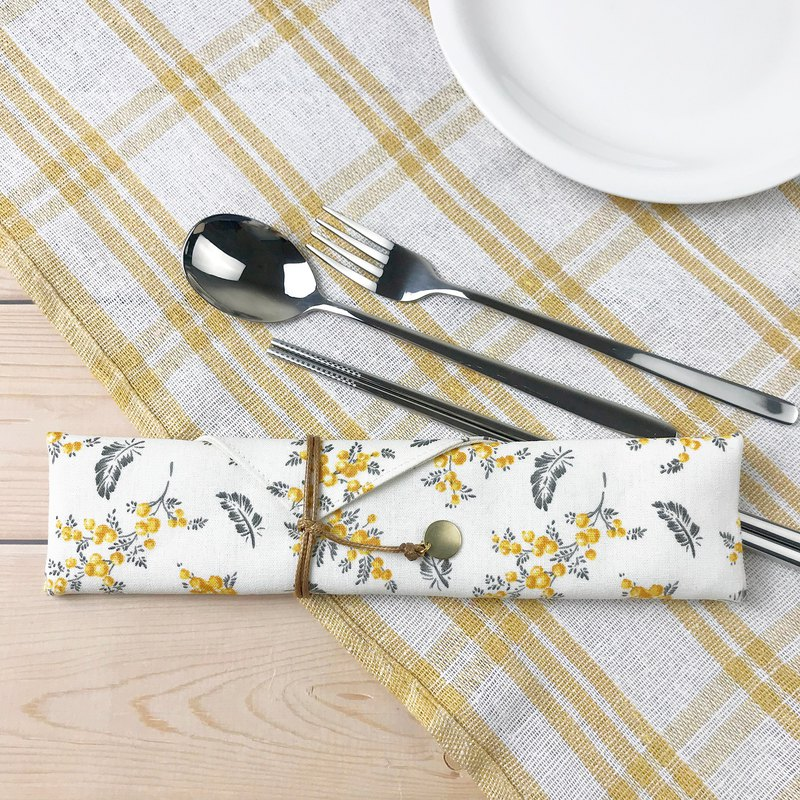 Country cotton tableware combination tableware storage bag with tableware
