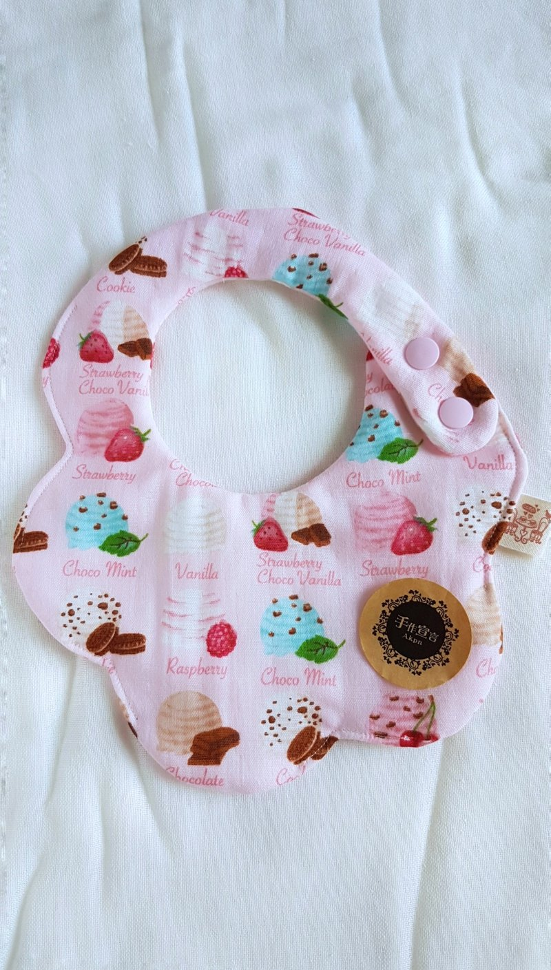 (Powder) dessert ice cream octopus 100% cotton double sided bib. saliva towel