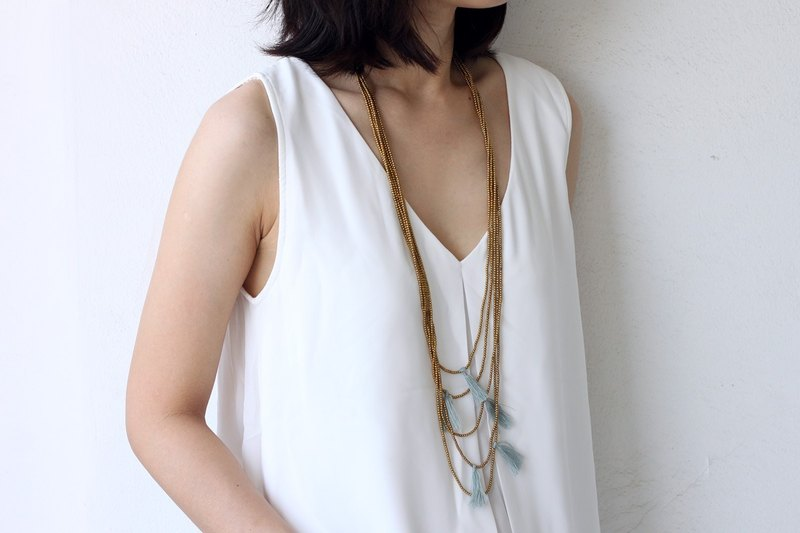 Tassels Necklaces Grey Layering Strand Skinny Long Drop