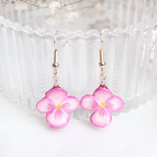 Handmade Heartsease earrings (Pink)