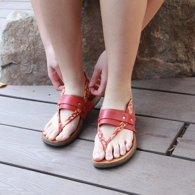 [Starry Love Day Wind Red] Lycra Leather Sandals / Stretch Lycra Shoelaces / Cork Comfort Air Cushion