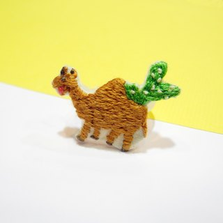 Desert embroidery camel with its cactus ring tail ring hand embroidery