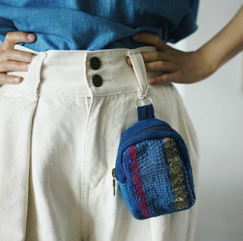 boro拼布多層棉布刺子繡掛鈎型隨行小包 雜物收納袋創意零錢包