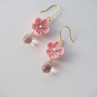 Pink Flowers and Tear Drop Glass Earrings, clip on, S925 silver, 14kgf custom