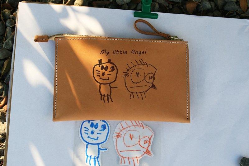 Handmade leather-kids graffiti storage bag cosmetic bag / image customization