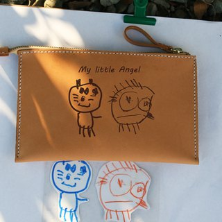 Handmade leather - kids graffiti storage bag cosmetic bag / image custom
