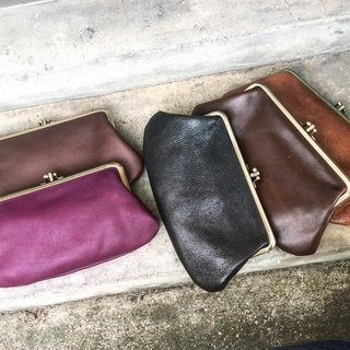 Sienna leather three-leaf gold wallet phone bag