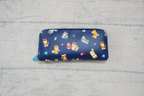 Play cloth hand made. 2017 Japan Shiba Inu (blue) tarpaulin long wallet wallet