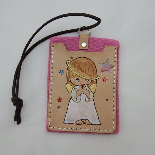 Leather documents travel card sets pray Angels -2