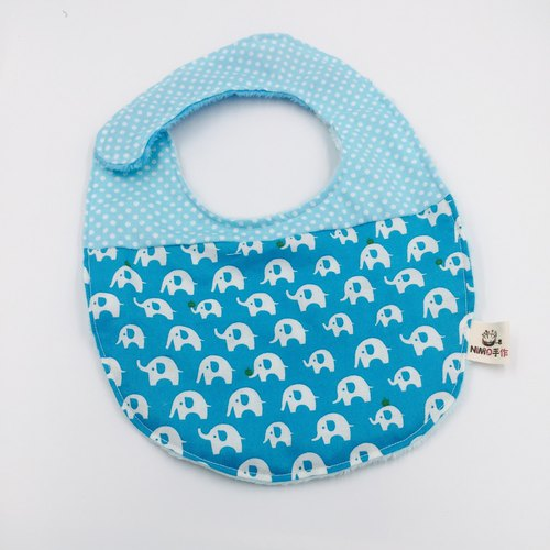 Small apple elephant blue bottom splicing point bib double yarn saliva towel Mi Yueli