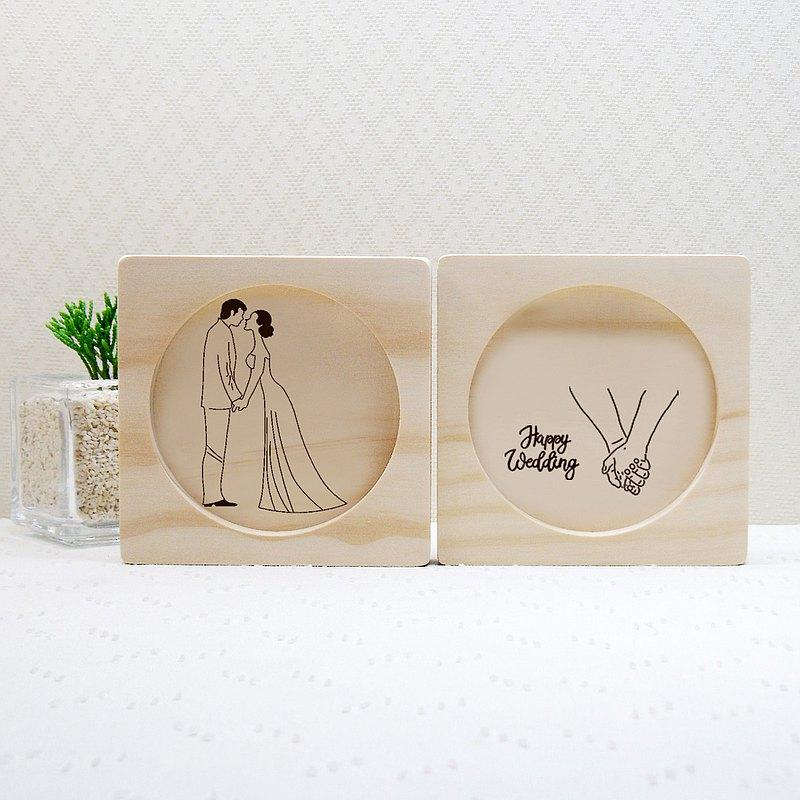 牽手 幸福的開始 結婚禮物 杯墊 刻印 客製 專屬圖案 新人 名字