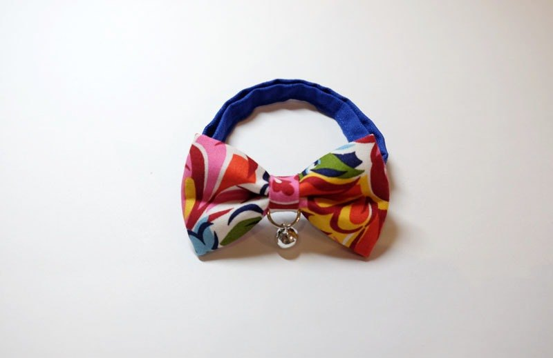[Miya ko.] Handmade cloth grocery cats and dogs tie / tweeted / bow / lovely flowers / vintage / colorful pet collar