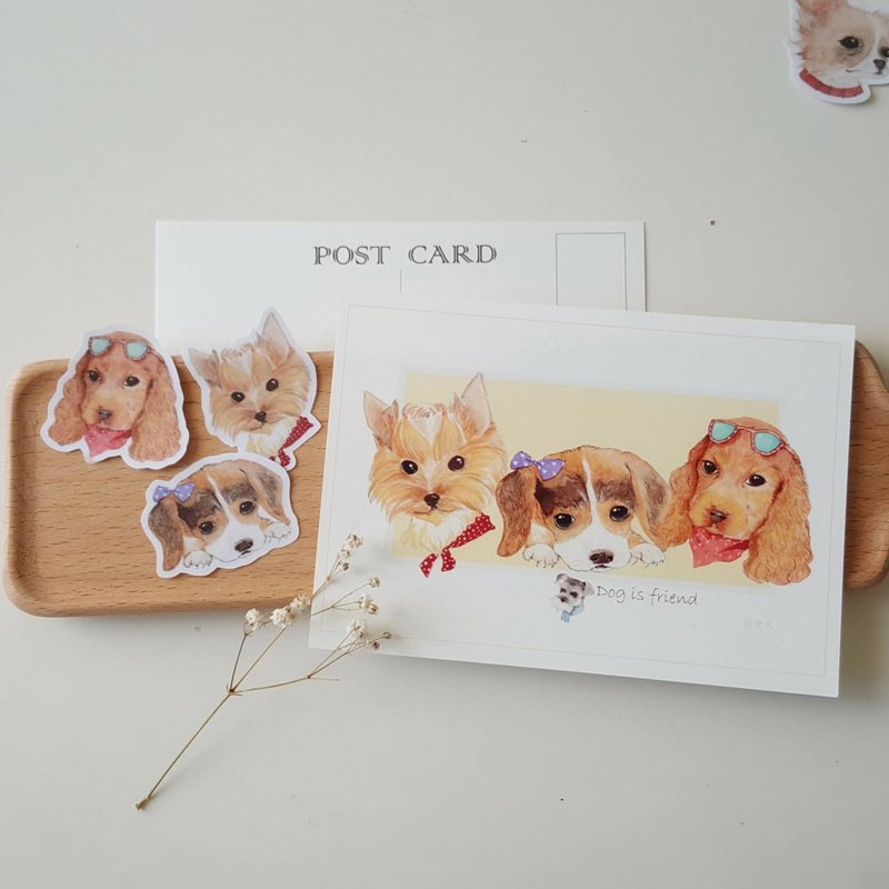 Fairy Pills Hand Drawn Postcard Stickers Set - Dog Series 3
