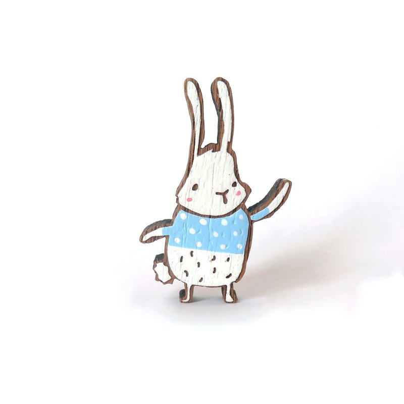 Wooden Brooch White Bunny Wearing
