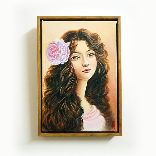 "ENEY acrylic original painting ""girl with a rose"" 20x30cm painted heart (12-inch picture frame)"