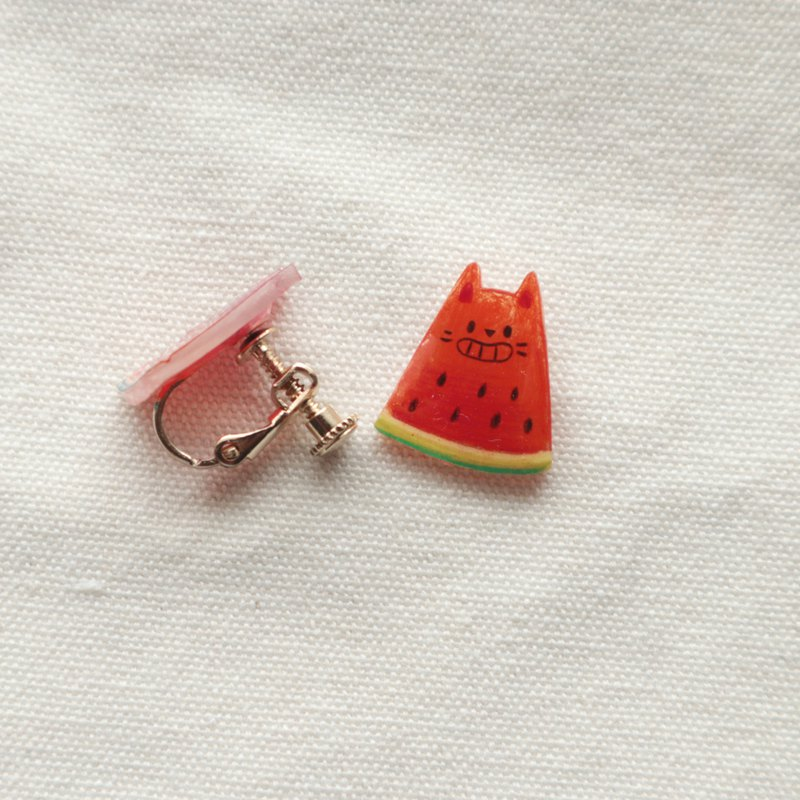 Chiau │ Original × Watermelon Cat Heat Shrink Earrings