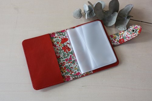 Cowhide × Liberty print card case Red