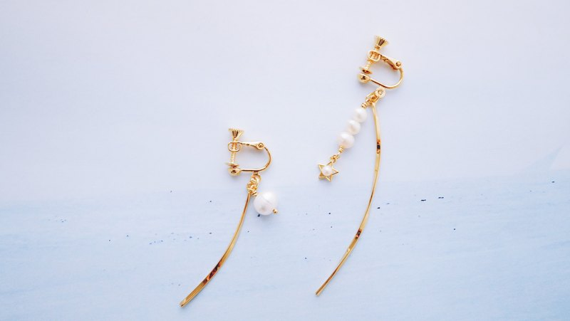 Small - Metallic curved pearl stars embellishment asymmetrical earrings