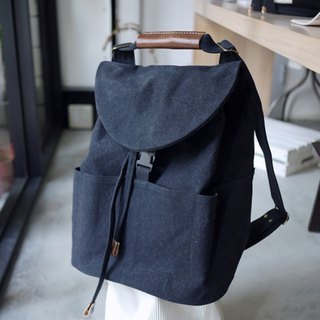 Washed paraffin canvas three-use backpack - black