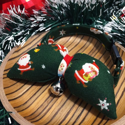 2016 Christmas Santa Claus defining green bow collar snowflake customized Christmas gift