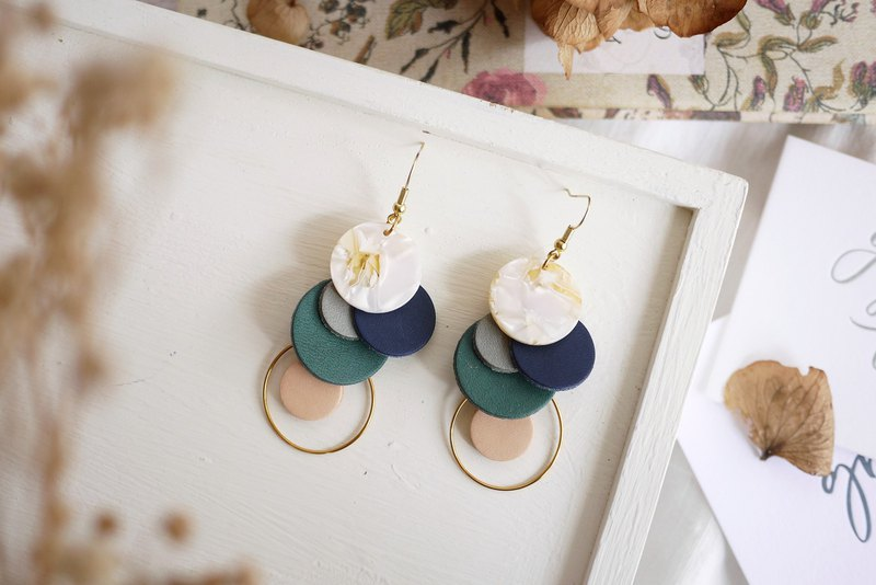 Blue Snowman Bubble Pendant Hanging Earrings Ear Pins Earrings Leather Brass Grey Blue Green